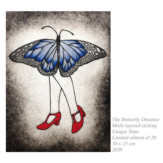 Original Etching 'The Butterfly Dreamer'