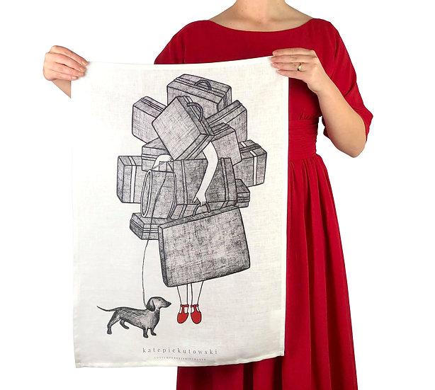 'An Artist's Burden' Design Linen Tea towel