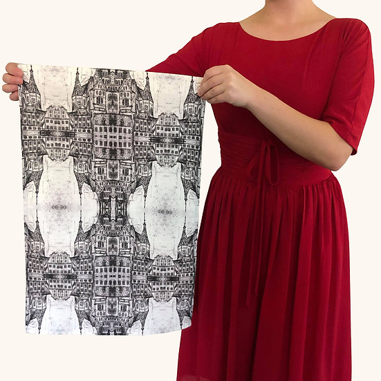 Black And White Architecture Tea Towel