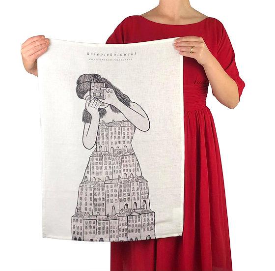 'I'll Remember You In My Dreams' Design Linen Tea Towel