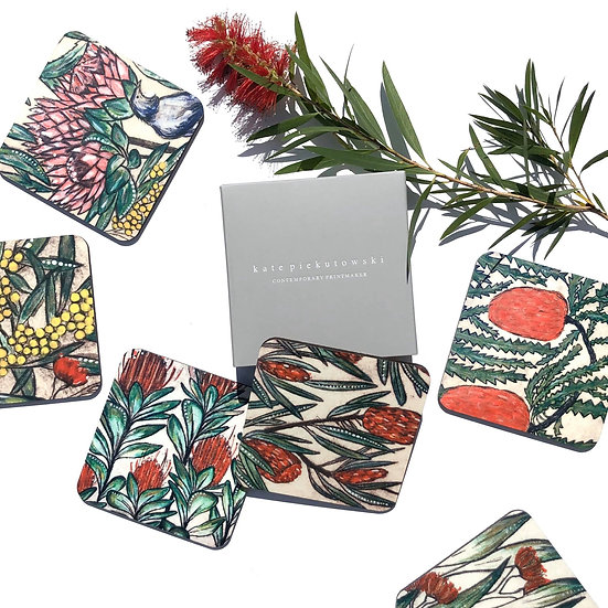 Australiana Botanical Coaster Set of 6