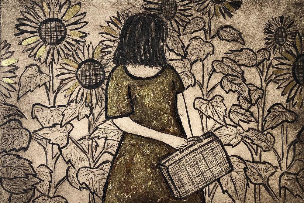 sunflower art, gold leaf art, lady in sunflower fields, sunflower field art, suitcase art, travelling art, gold sun,