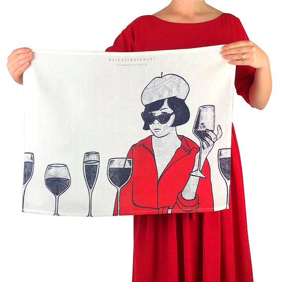 'Parisienne Facade' Design Linen Tea Towel
