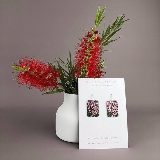'Pink Protea' Design Earrings