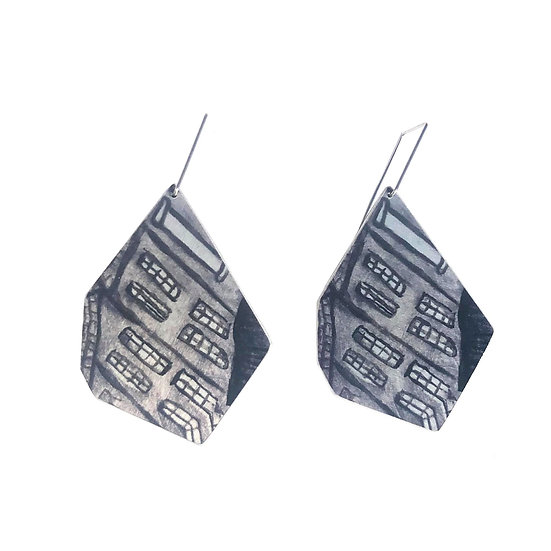 'Grey Watercolour' Design Earrings