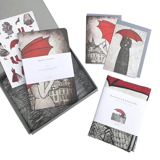 Red Umbrellas, Red gift card set, Architecture pattern, black red grey,  Europe city, travel gift, quirky stickers, journal