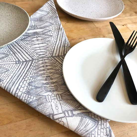 'Grey Gothic Design' Napkin set of 2