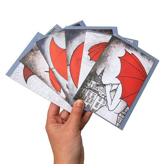 'Red Umbrella Design' Card set of 6