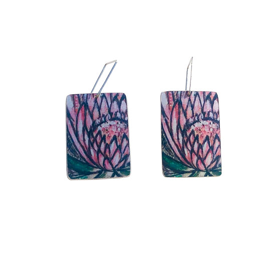'Pink Protea' Design Earrings