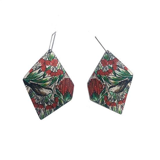 'Botanical Bird' Design Earrings