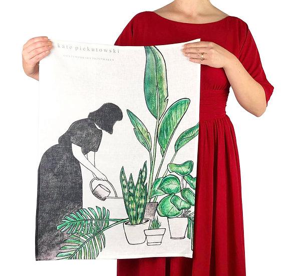 'Garden Forager' Design Linen Tea Towel