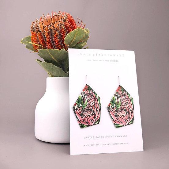 'Abstract Protea' Design Earrings