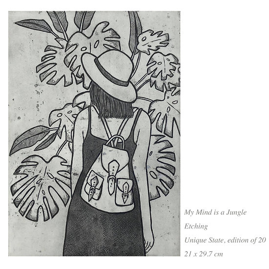 SALE 'My Mind is a Jungle' Etching