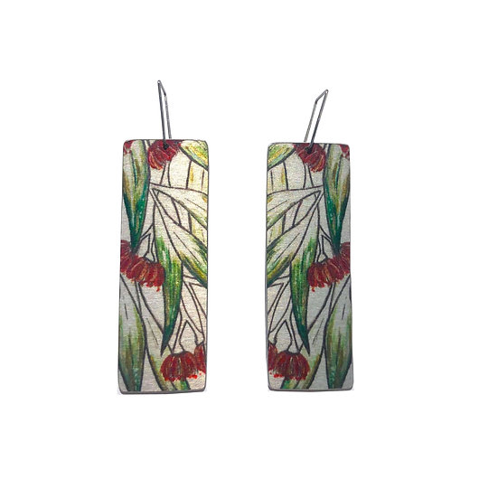 'Floral Red Gums' Design Earrings