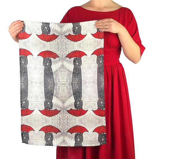 'Red Umbrellas' Design Linen Tea Towel
