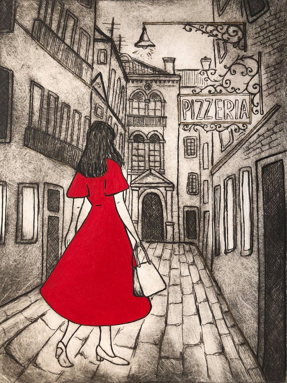 lady travelling, Woman in Italy, Italy travel, Italy streets, European city, Pizzeria Italy