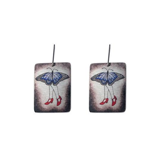 Butterfly earring, butterfly jewellery, blue butterfly, red earrings, red shoes, red shoes earrings, whimsical butterfly