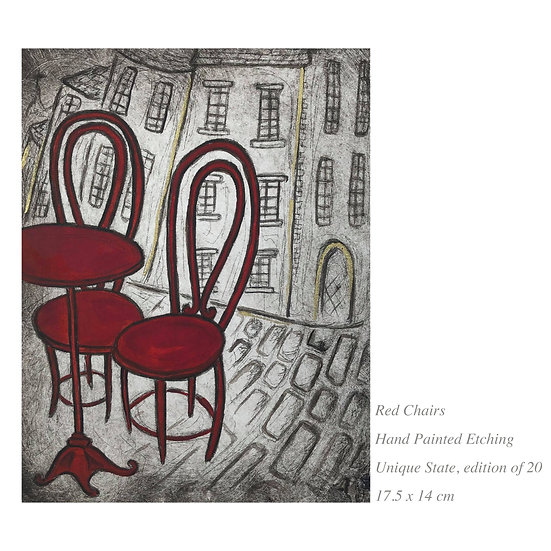 SALE 'Red Chairs' Etching