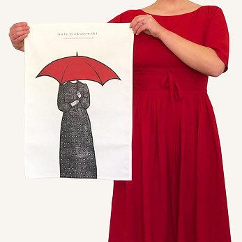 'Polka Dots In The Rain' Design Tea Towel