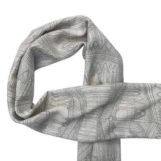 'Grey Gothic Design' Wool/Silk Scarf
