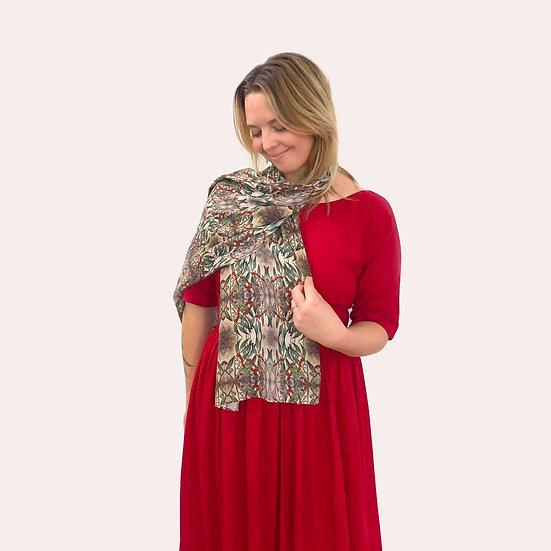 'Gum nut Flower Design' Wool/Silk Scarf