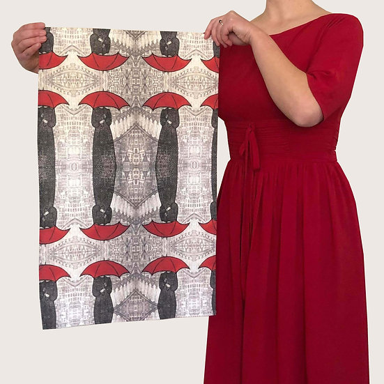 'Red Umbrellas' Design Tea Towel
