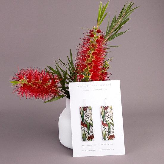 'Floral Red Gums' Design Earrings