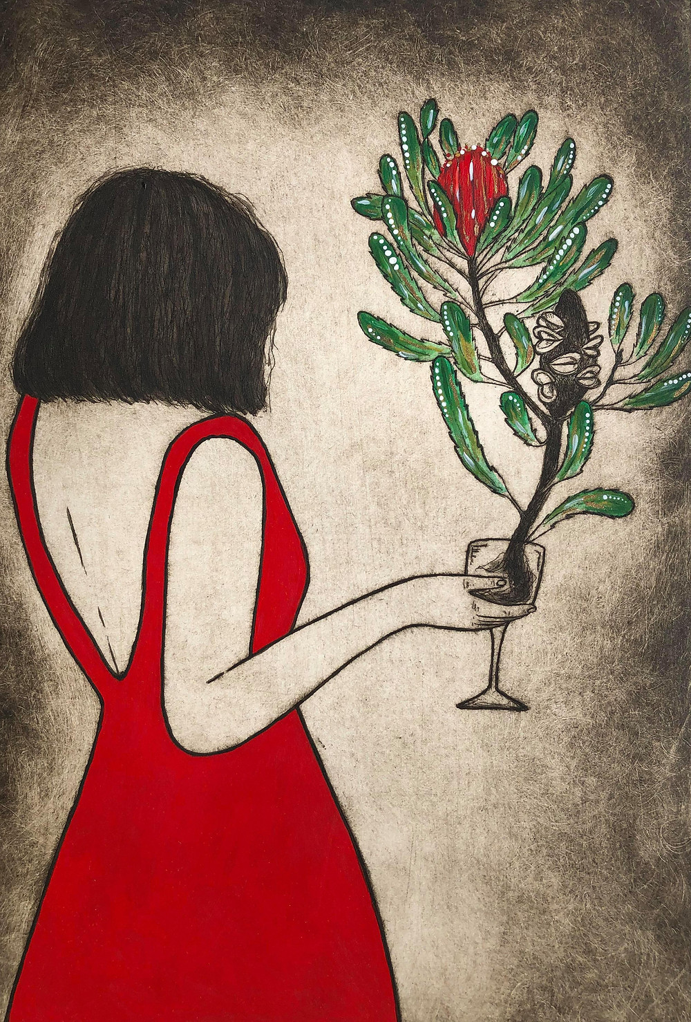 wine glass, wine art, red dress, red art, banksia art, Australian flower art, bob cut lady, lady with wineglass, Australian native plants, Australian botanical art, etching, printmaking art, Kate Piekutowski printmaker