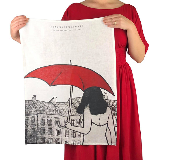 'Mary Poppins Dreaming' Design Linen Tea Towel