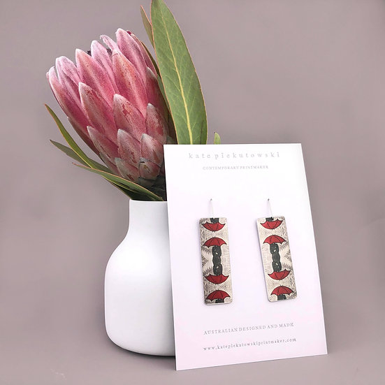 'Red Umbrella' Design Earrings