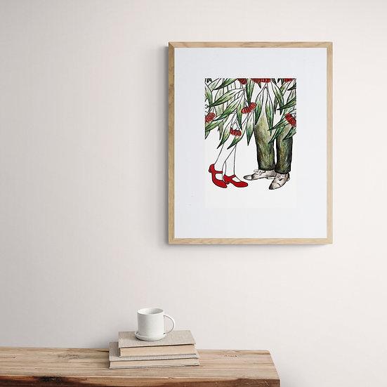 Botanical art, Etching, printmaking, red shoes, gum leaves, flowering gum art, Kate Piekutowski printmaker, giclee print