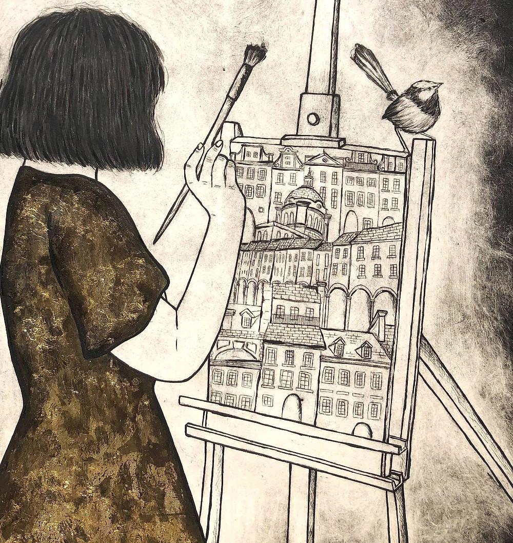 gold leaf art, gold art, gold dress, cityscape, fairy wren art, bob cut lady, easel art, lady painting art, architecture painting, etching, Kate Piekutowski printmaker