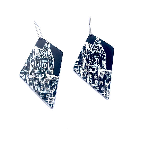 'Black and White' Design Earrings