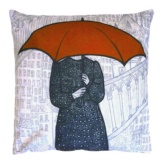 'Red Umbrella Lady' Design Cushion