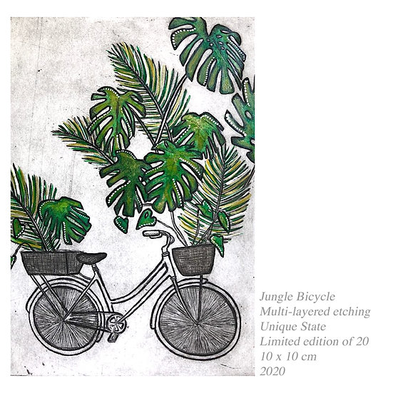 Original Etching 'Jungle Bicycle'