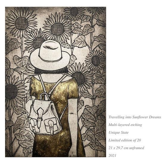 sunflower art print, flower art, gold leaf, gold art, gold dress, girl travelling art, lady travelling, backpack girl, gold