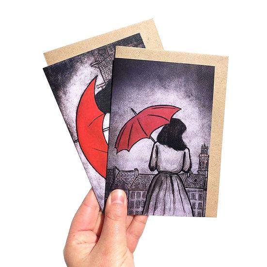Red Umbrella Design Gift Set of 6
