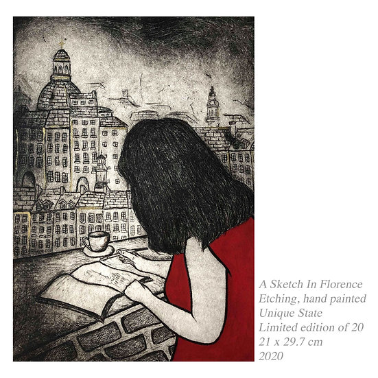 Original Etching 'A Sketch In Florence'