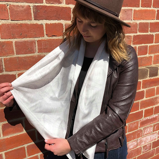 Pale Grey Architecture Silk Scarf