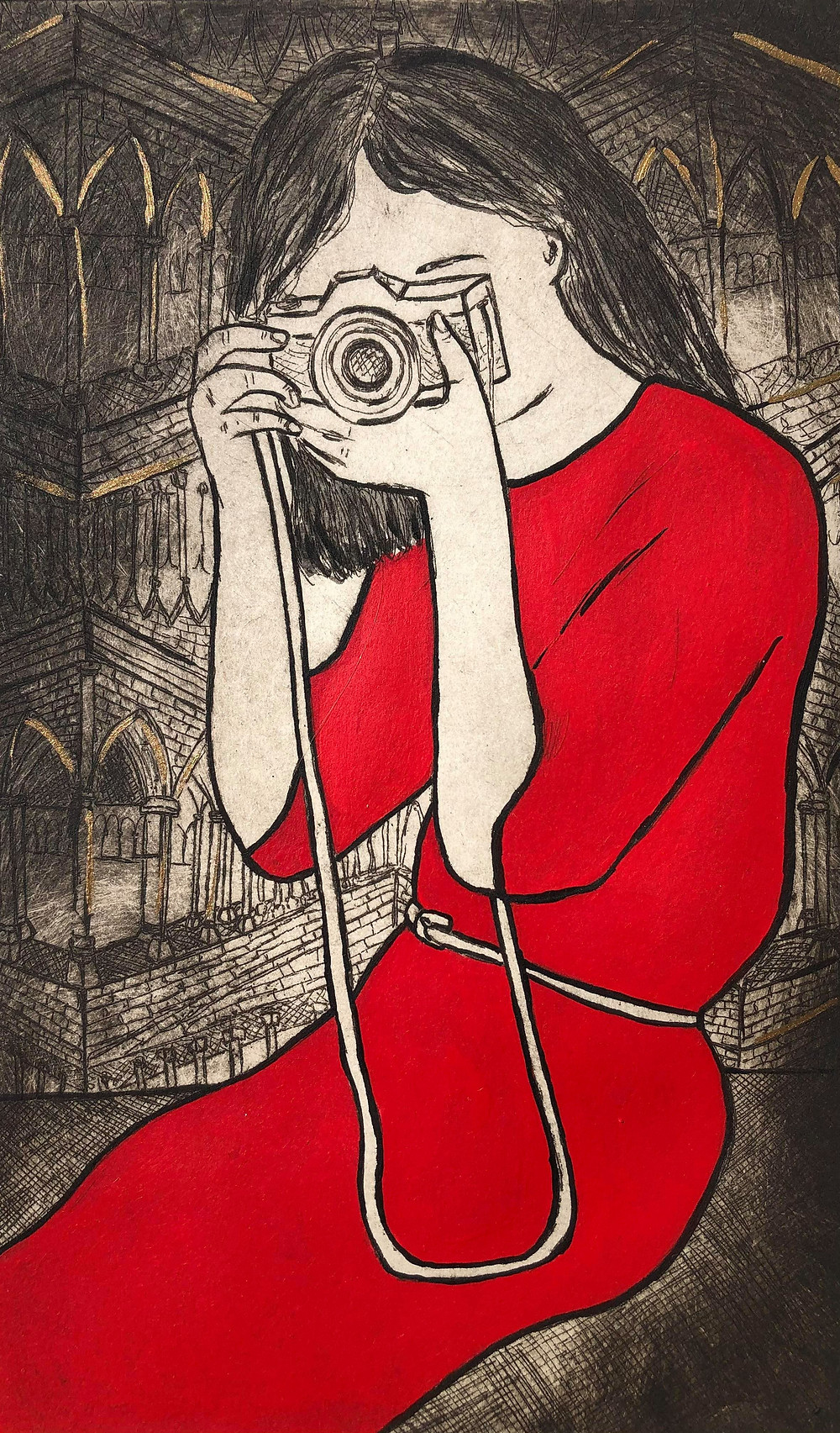 camera lady, red dress, lady in red, gothic, gothic architecture, Europe city, europe buildings, travel girl, lady travelling, travel art