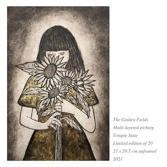 gold leaf, sunflower art, gold art, lady with sunflowers, gold sunflowers, etching, gold leaf, printmaking, flower art