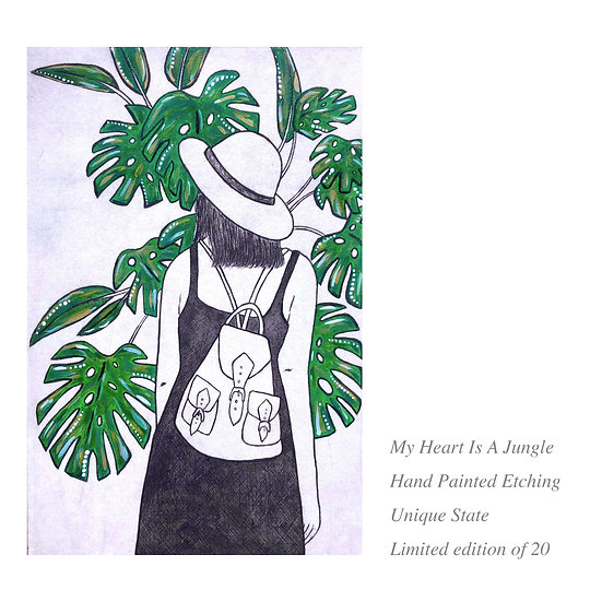 Jungle lady art, monstera art, lady travelling, lady with a backpack, jungle art, green plant art, backpack girl