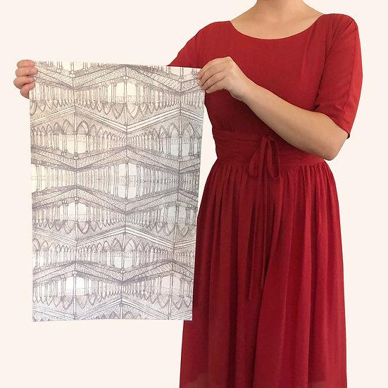 Grey Gothic Tea Towel