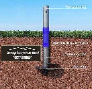 Дополнительная защита винтовой сваи термоусаживаемой трубкой (термоусадкой)