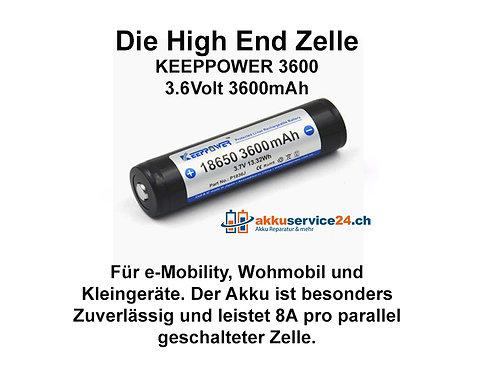 Keeppower 18650 3,6V - Preis pro verbaute Zelle im Akkupack