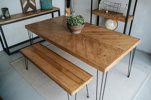 Custom Chevron Table with Bench