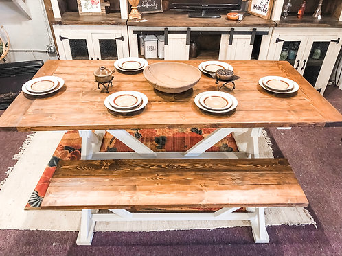 7ft Farm Table & Bench Special Walnut/White