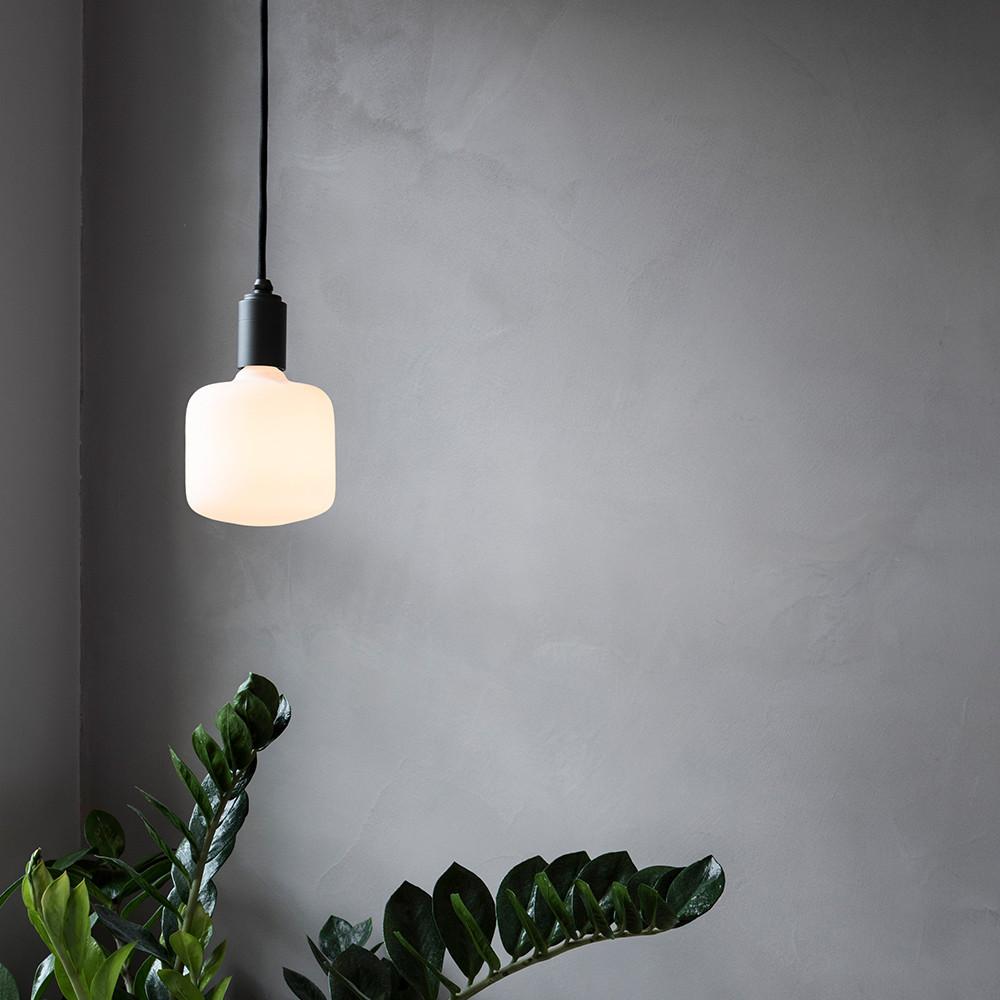 Oblo-Porcelain-led-bulb-graphite-pendant