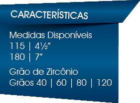 Medidas 115mm e 180mm Grãos de Zircônio 40 60 80 120