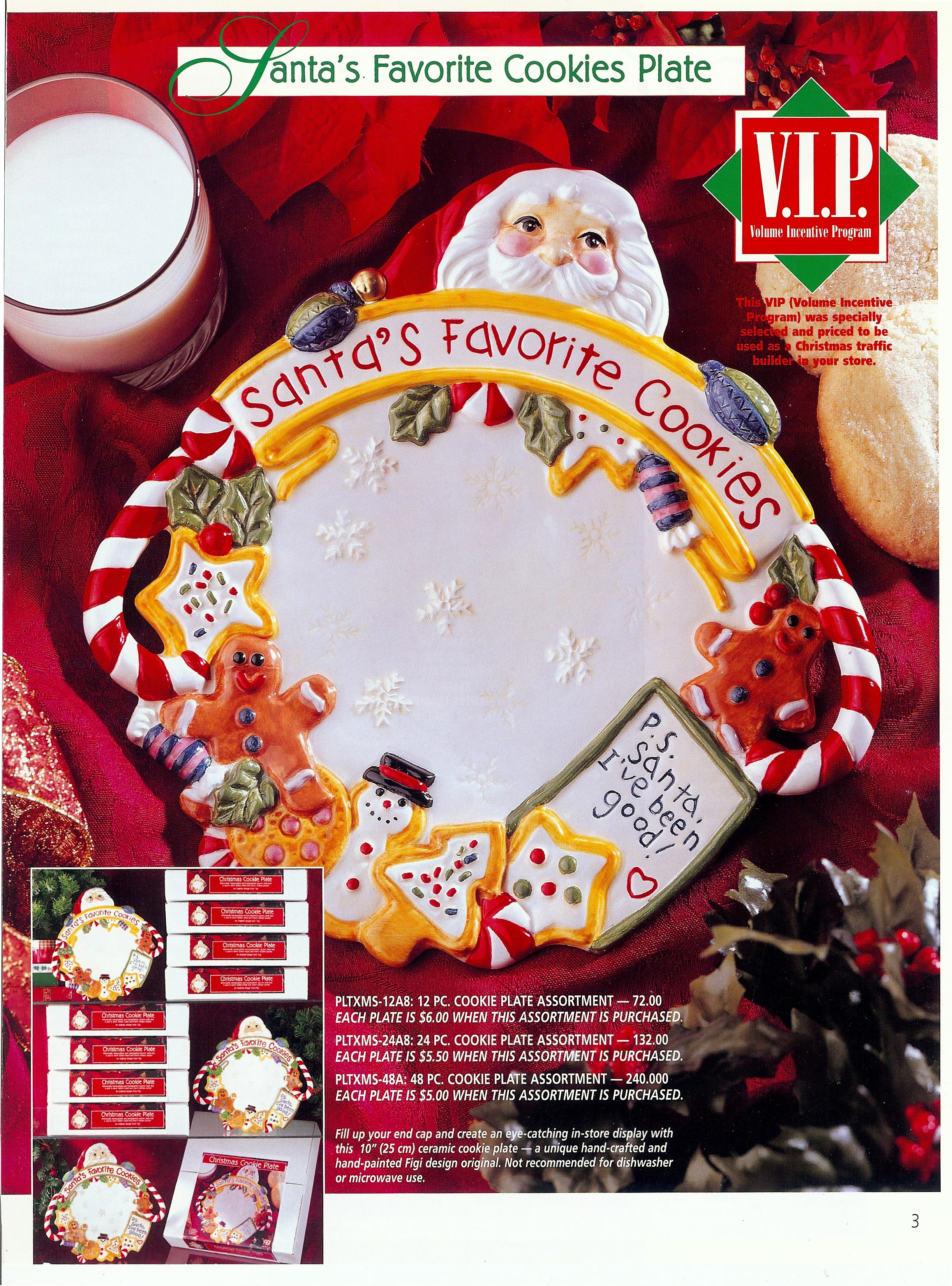 Santa ceramic cookie plate